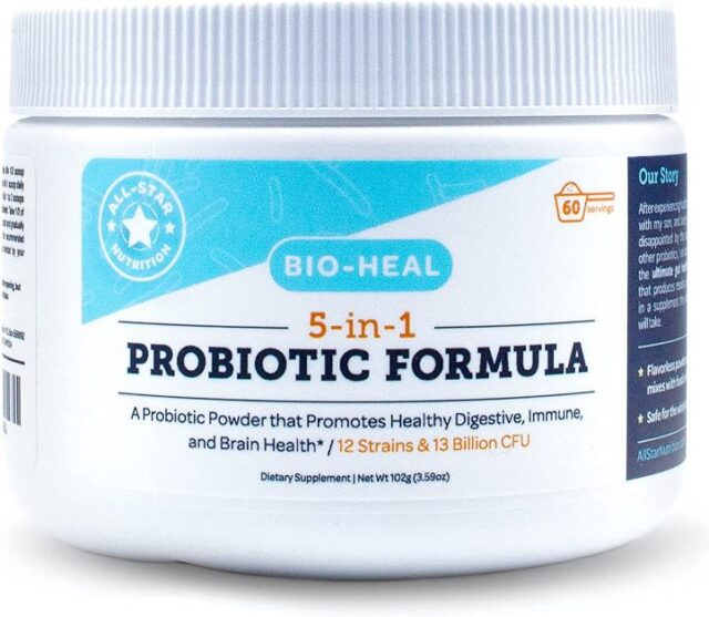 5-in-1 Bio-Heal® Probiotic for Kids, Men & Women (Powder) - Best Supplement for Brain Function, Gut Health & Constipation - Shelf Stable & Fortified with Vitamins, Minerals & Prebiotics - All-Natural