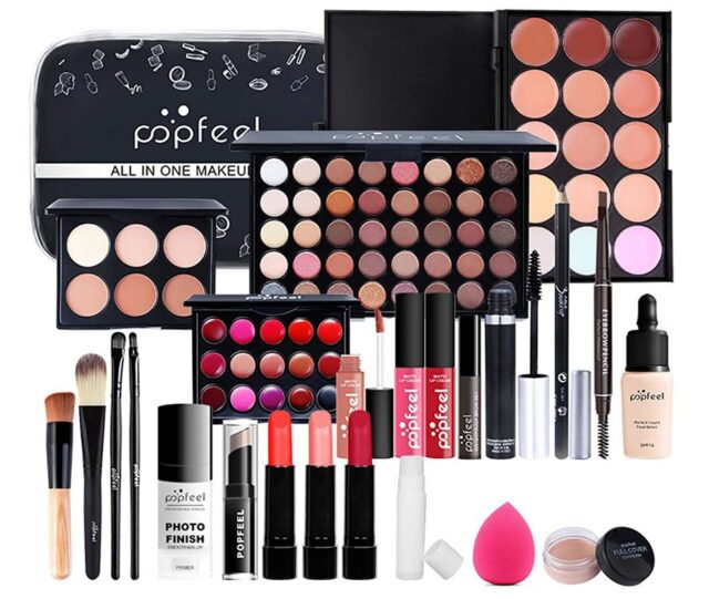 FantasyDay All-in-one Holiday Makeup Gift Set | Makeup Kit for Women Full Kit Cosmetic Essential Starter Bundle Include Eyeshadow Palette Lipstick Blush Foundation Concealer Face Powder Lipgloss Brush