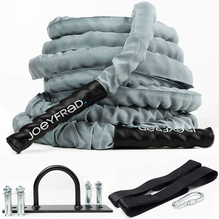 Joeyfrad Battle Rope Battle Ropes for Home Gym 1.5 Inch Heavy Weighted Rope 30ft Length 100% Dacron Strength Training Ropes Fitness for Home Gym, Cardio w/Wall Anchor 2 Anchor Straps, 1 Carabiner